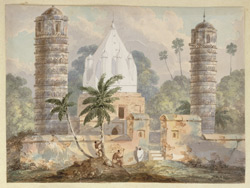 N25 Ancient Pillars at Bhaughulpoor & modern Hindoo Temple erected by Juggut sect. Septr 1820